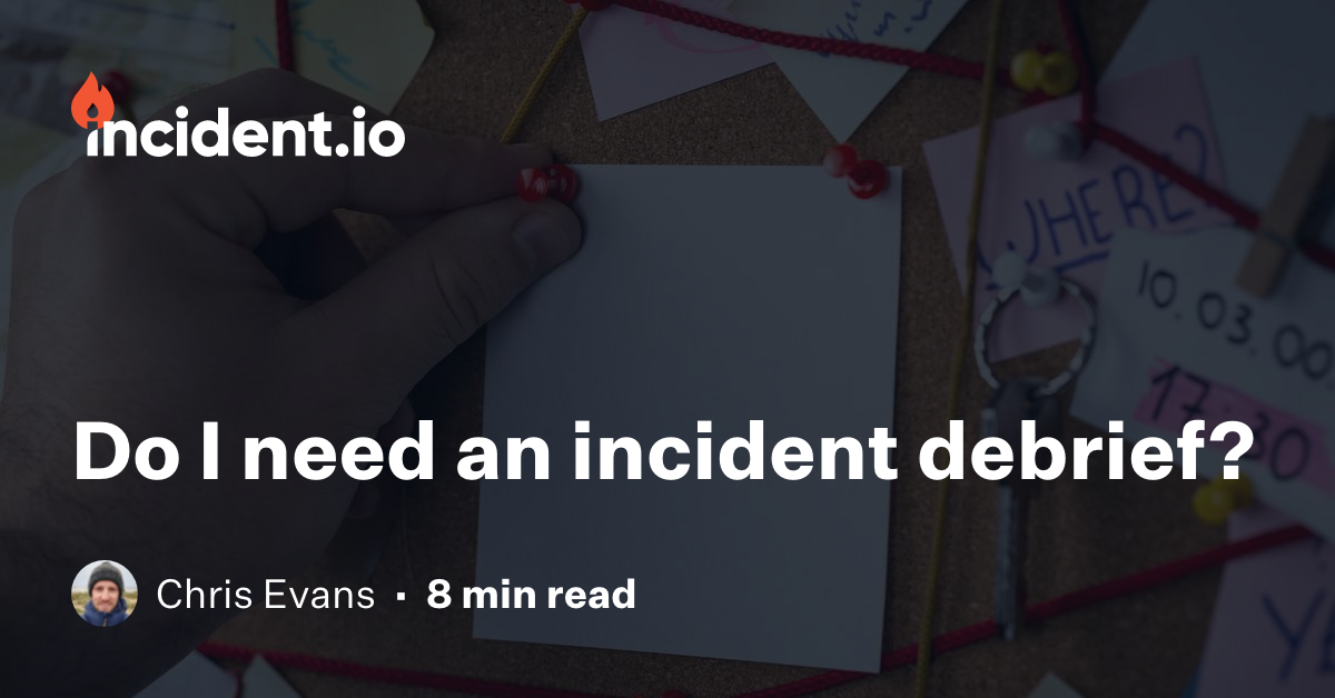 This is the first in a series of posts which look at what happens when the incident is over and we're thinking about what to do next. We'll look at so